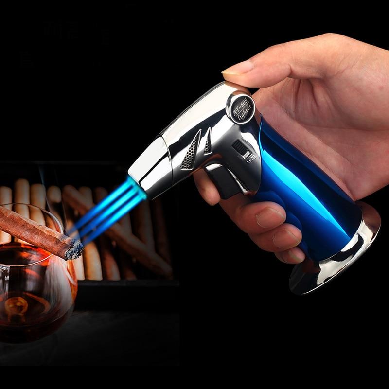 Baking BBQ Outdoor Jet Lighter Kitchen Torch Turbo Pipe Gas Lighters Butane Cigarette Spray Gun Cigar Windproof 3 Nozzles Fire