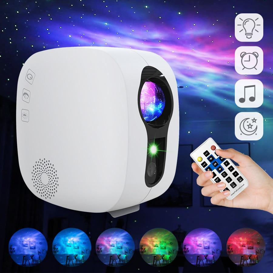 Laser Galaxy Starry Sky Projector Rotating Water Waving Night Light Led Colorful Nebula Cloud Lamp Atmospher Bedroom Beside Lamp enlarge