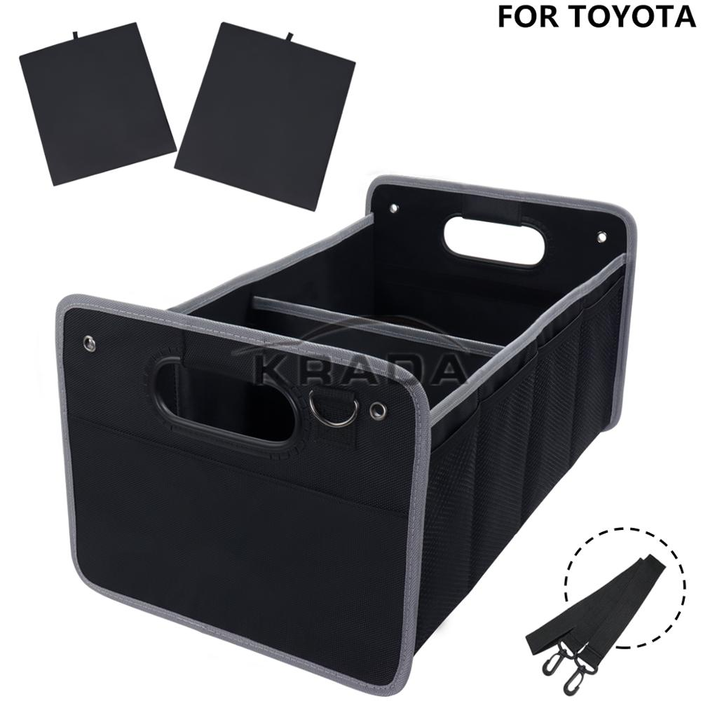 1X Trunk Box For Toyota Camry Supra 86 Land Cruiser CH-R TRD Embelm Foldable Large Capacity Organizer Car Rear Trunk Storage Box