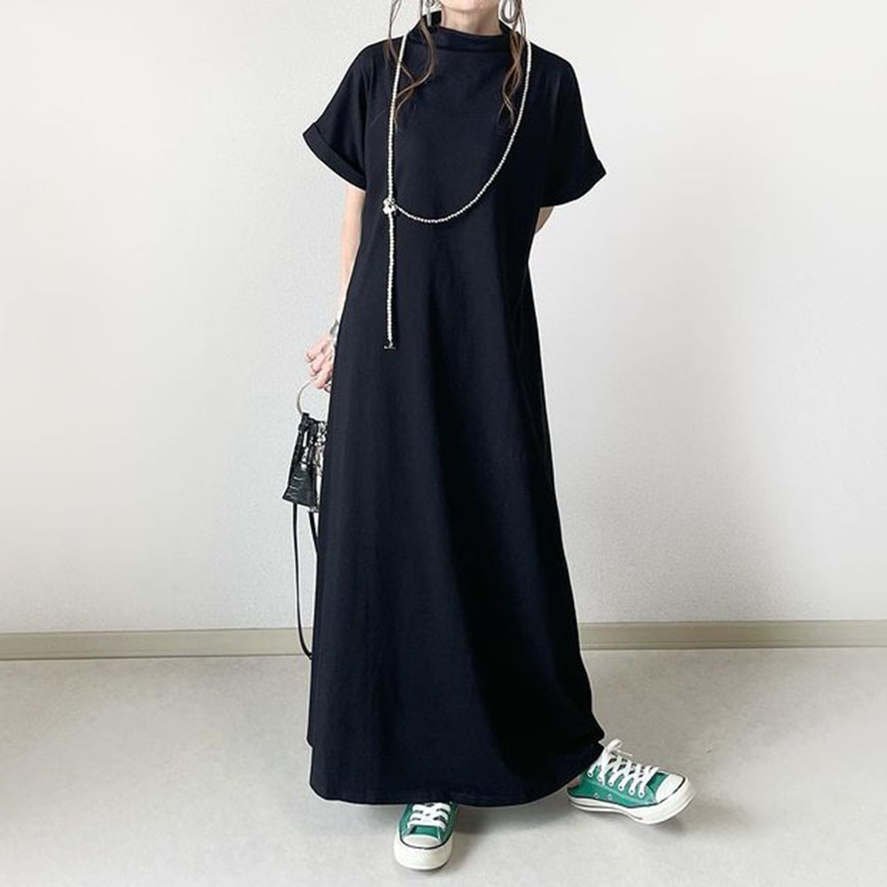 Dress 2021 Summer New Women's Solid Color Simplicity Fashion Japanese Style Round Neck Summer Casual