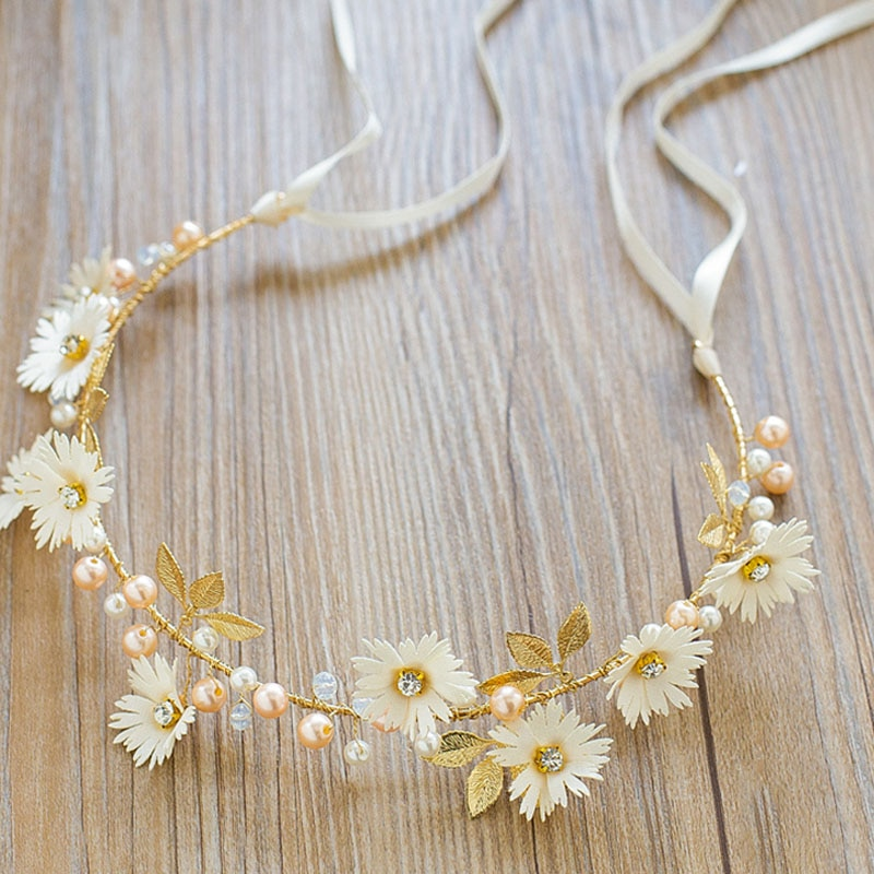 FORSEVEN diadema de hojas de flores de Margarita dorada/roja Tiaras cinta de guirnaldas accesorios para el cabello de boda para mujeres novia