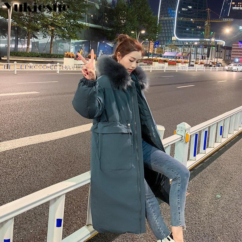 Winter Warm Jacket Female 2020 Fashion Thin Waist Coat Women Winter Thicken Warm Fur Lining Down Cotton Parkas Female Coat