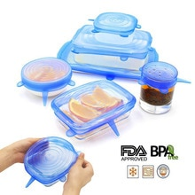 6 pièces/ensemble couvercle en Silicone frais gardant Silicone couvercles extensibles pour nourriture Pot plat accessoires de cuisine tampa de silicone