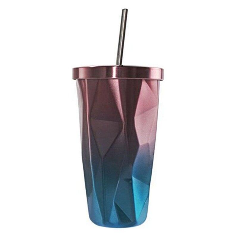 Copo de aço inoxidável com palha-parede dupla quente e fria copos bebendo canecas de café 500ml diamante irregular com tampa (rosa +