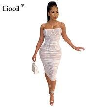 Liooil noir blanc Sexy maille ruché robe Midi femmes sans manches sans bretelles dos nu voir à travers la boîte de nuit fête robes moulantes