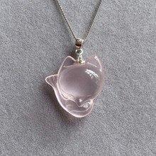 Qualité ouverture la lumière naturel renard pendentif coupe collier 925 argent recrue fleur Wang mariage femme cristal ornements