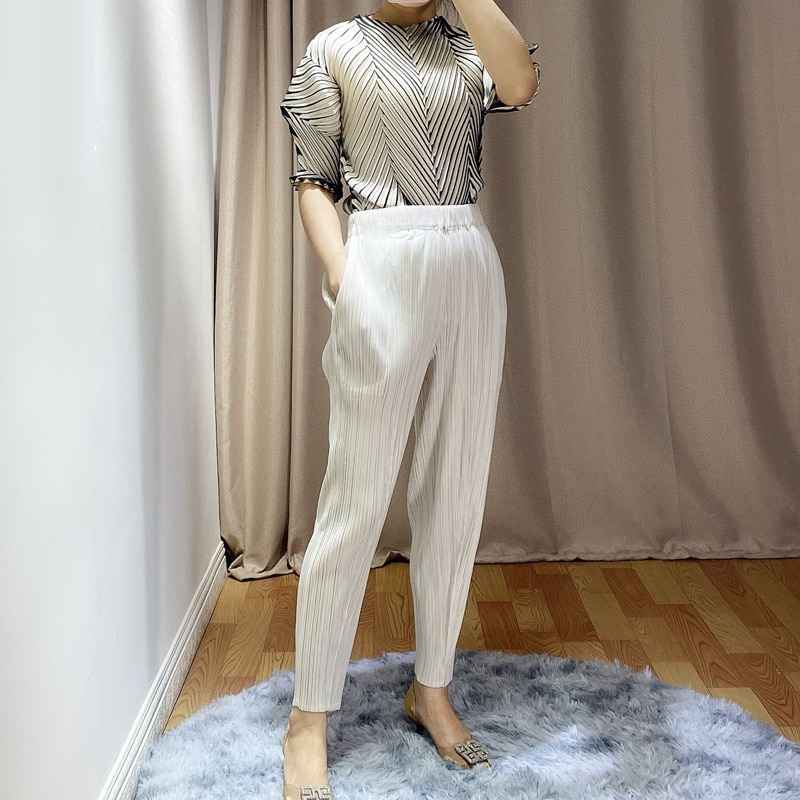 Miyak-سروال رصاص نسائي قصير بطيات ، ملابس نسائية مقصوصة كبيرة الحجم ، لون سادة ، نحيف ، غير رسمي ، مجموعة ربيع وصيف 2020 الجديدة ، P78799