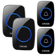 CACAZI AC Wireless Intelligent Waterproof Doorbell 300M Range LED Night Light Home Call bell  1 2 Button 1 2 3 Receiver