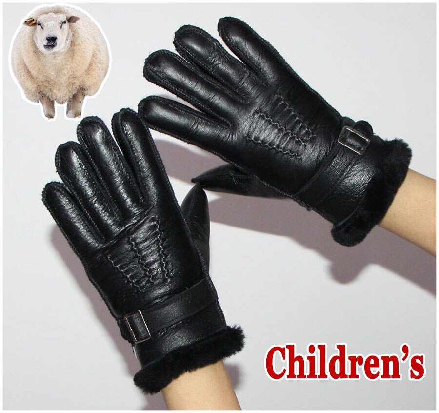 Fur gloves children's sheepskin gloves sheepskin wool gloves winter warmth thickening real wool glov