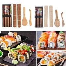 Baguettes outils de cuisine en bambou   Ensemble de 5 pièces/ensemble de sushis en bambou comprenant 2 pièces, tapis à rouler, palette dépandage de riz 5 paires