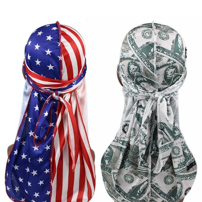 Unisex Silky Satin Durags divertido dólar estadounidense bandera gorro impreso sombrero Hip Hop motocicleta calavera pirata Cap Head Wrap