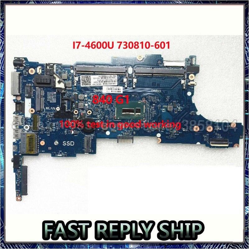 SHELI para HP 840 G1 portátil placa base 730810-601, 730810-001 6050A2560201-MB-A02 I7-4600U CPU pc portátil placa base prueba ok
