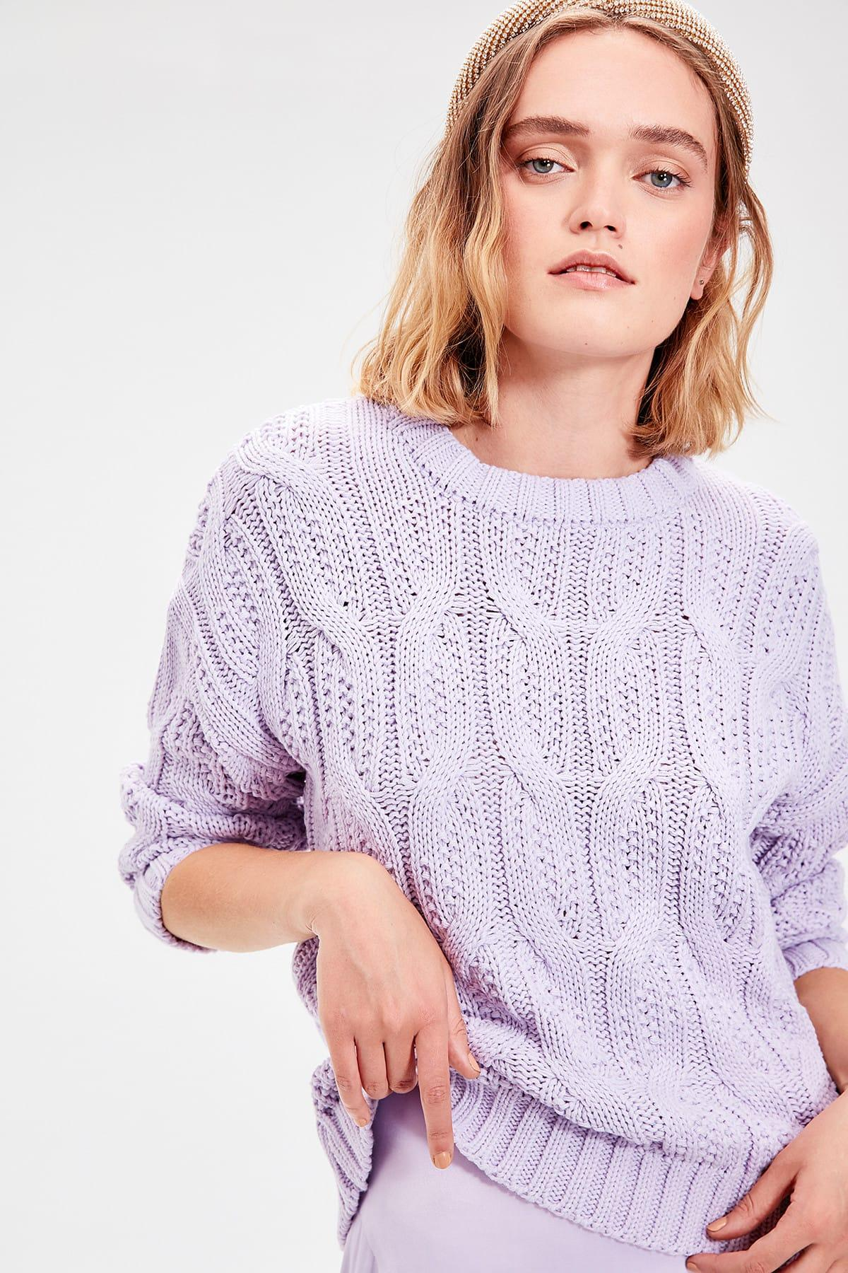 Trendyol Lila pelo trenzado punto suéter TWOAW20ZA0060