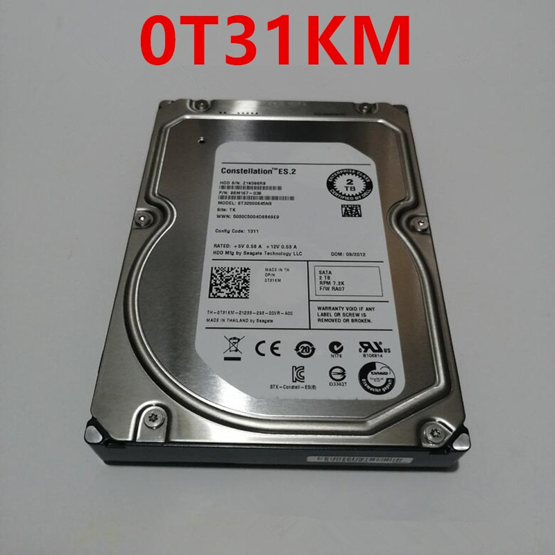 قرص صلب أصلي جديد 98% لأجهزة Dell 2 تيرا بايت 3.5 بوصة SATA 64MB 7200RPM للقرص الصلب الداخلي لفئة المؤسسات HDD لـ T31KM 0T31KM ST32000645NS