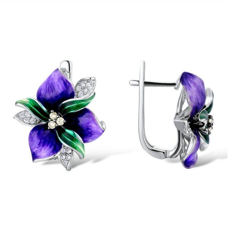 Delicado feminino roxo esmalte flor pétala clipe de prata brincos bohemia ampla flor noivado casamento nupcial jóias brincos