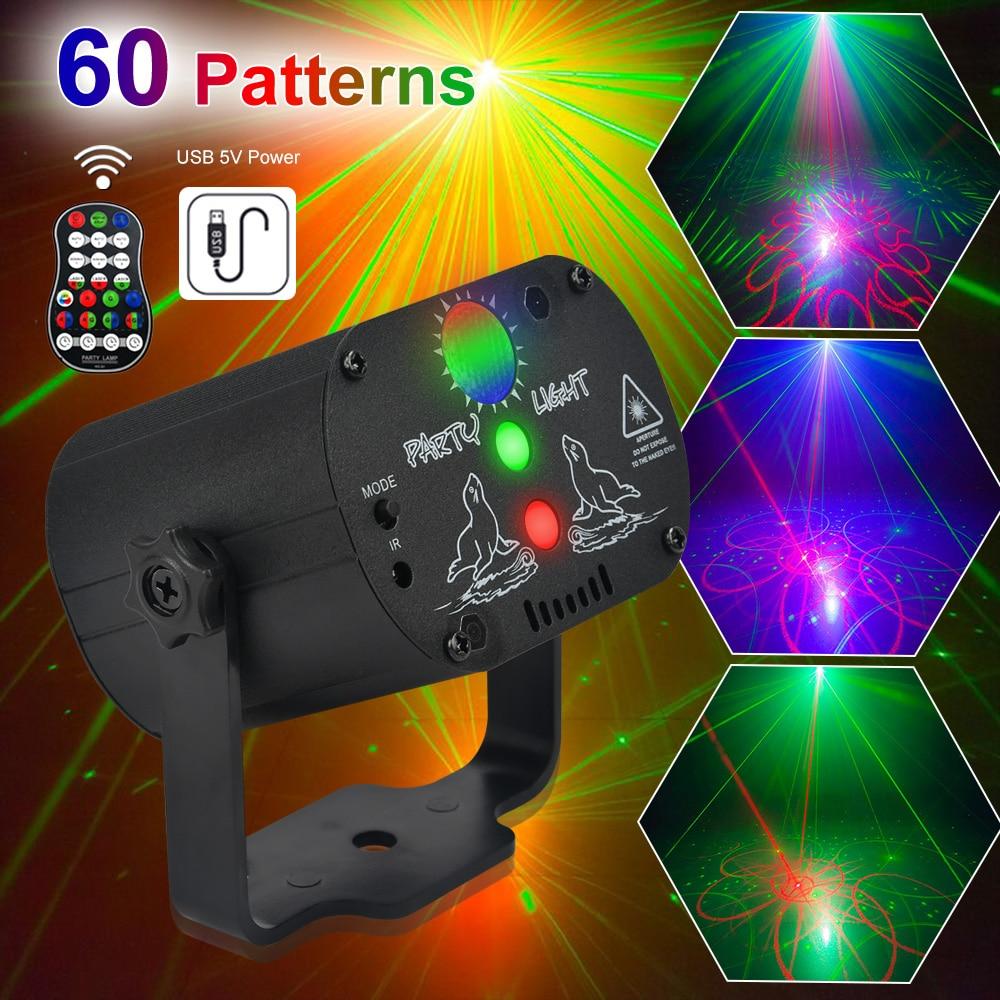 ديسكو ضوء البسيطة RGB ضوء المرحلة DJ LED الليزر المرحلة العارض مصباح قابلة للشحن إضاءات دي جي ل حفل زفاف وعيد ميلاد مع البعيد