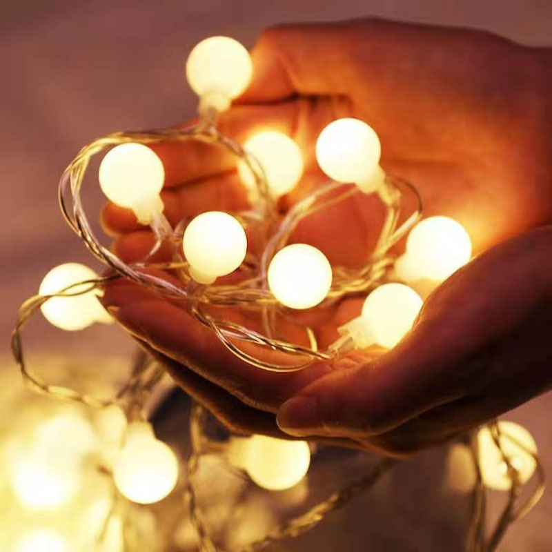 usb battery powered led heart shaped fairy string lights garland light christmas holiday valentine wedding party decoration lamp Battery Power LED Ball Garland Lights Holiday Fairy String Light Outdoor Lamp Christmas Wedding Party Home Lights Decoration