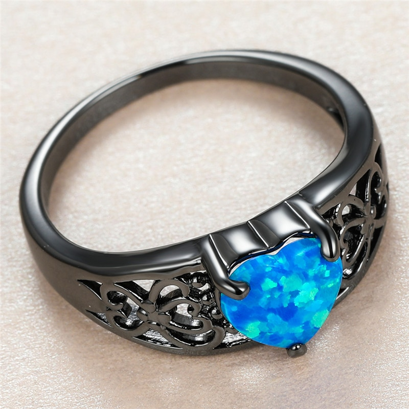 Trendy Female Blue Opal Stone Ring Charm 14KT Black Gold Hollow Wedding Rings For Women Luxury Bride Love Heart Engagement Ring  - buy with discount