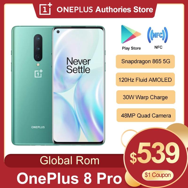 Новый Oneplus 8 pro 5G мобильный телефон 6,78 дюйм 8/12 Гб 128/256 ГБ Snapdragon 865 четыре задние Камера 48MP 8MP 48MP 5MP Dual SIM Смарт телефон