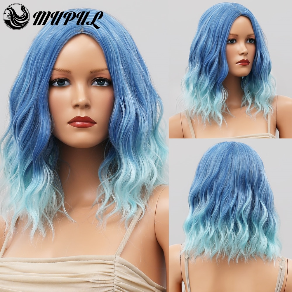 Cosplay Blue Ombre Short Wave Nutural Hair Synthetic Wigs For White Women Heat Resistant Female Daily Wavy Fiber Colored Wig