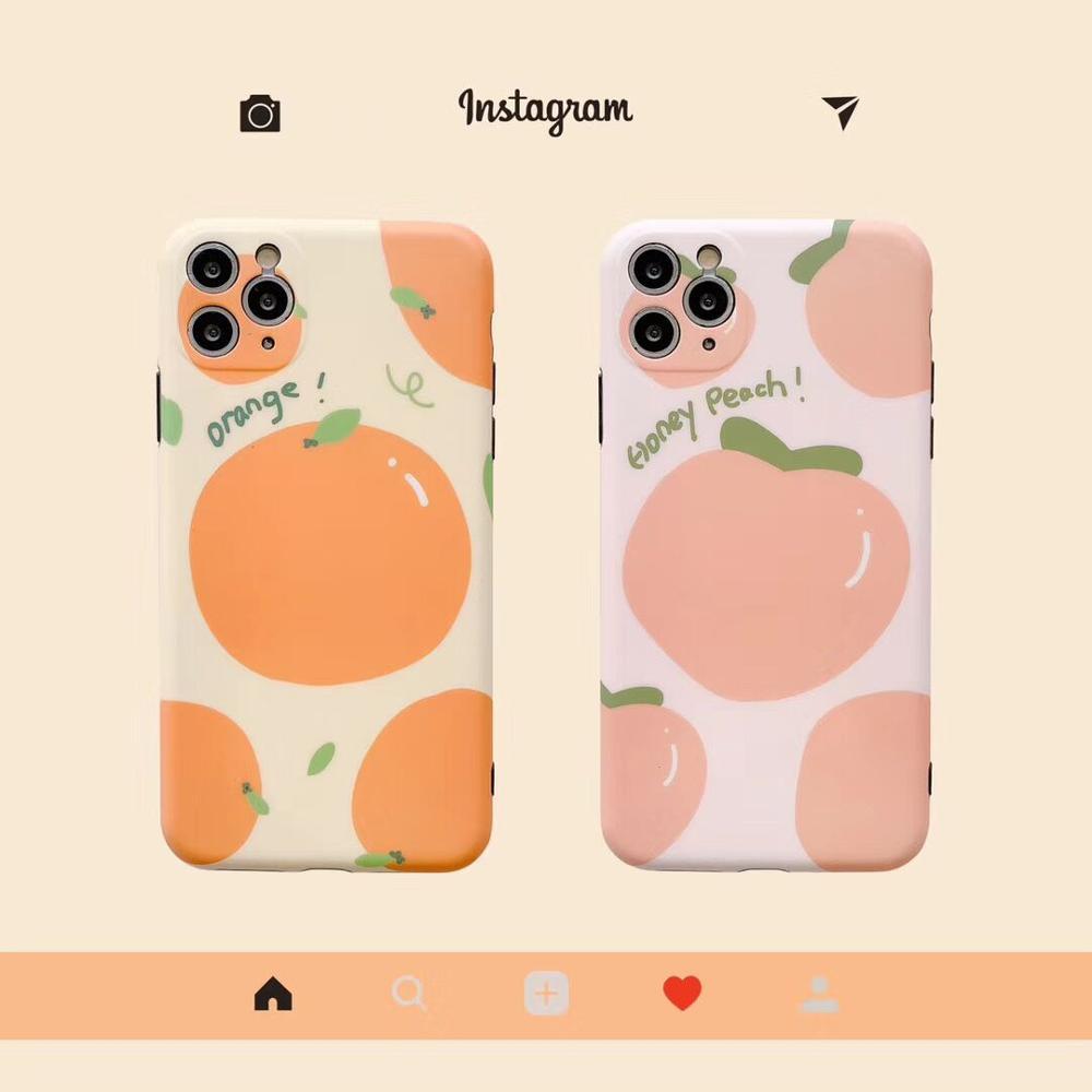 Summer simple cartoon fruit Peach orange Phone Case For iPhone11 Pro Max XR XS Max 7 7Plus 8 8Plus soft protection Cover