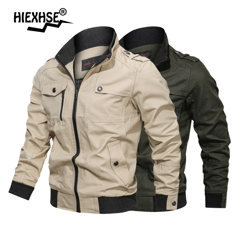 2021 Men Spring Autumn Military Jacket Cotton Windbreaker Pilot Coat Army Men 4X Bomber Jackets Cargo Flight Jacket Denim Jacket