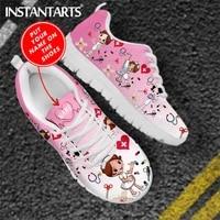 instantarts pink nursing shoes ladies flats sneakers cute cartoon nursedoctor brand design air mesh lightweight female footwear