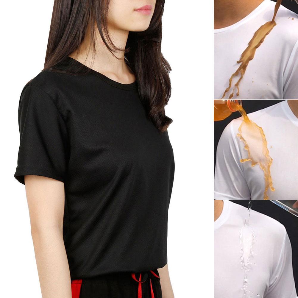 Color sólido Unisex Anti-sucio impermeable de secado rápido Camiseta de manga corta nueva Chic