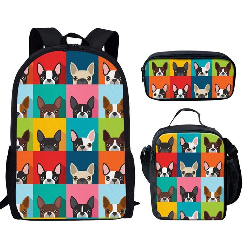 Orthopedic School Bags Cute Boston Terrier Print Cartoon School Book Bags Children Schoolbags 3pcs/set Girl Backpack