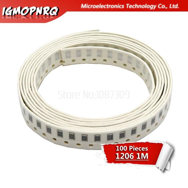 100PCS 1206 M ohm resistor de chip SMD Resistor 5% 1 0.25W 1/4W 105