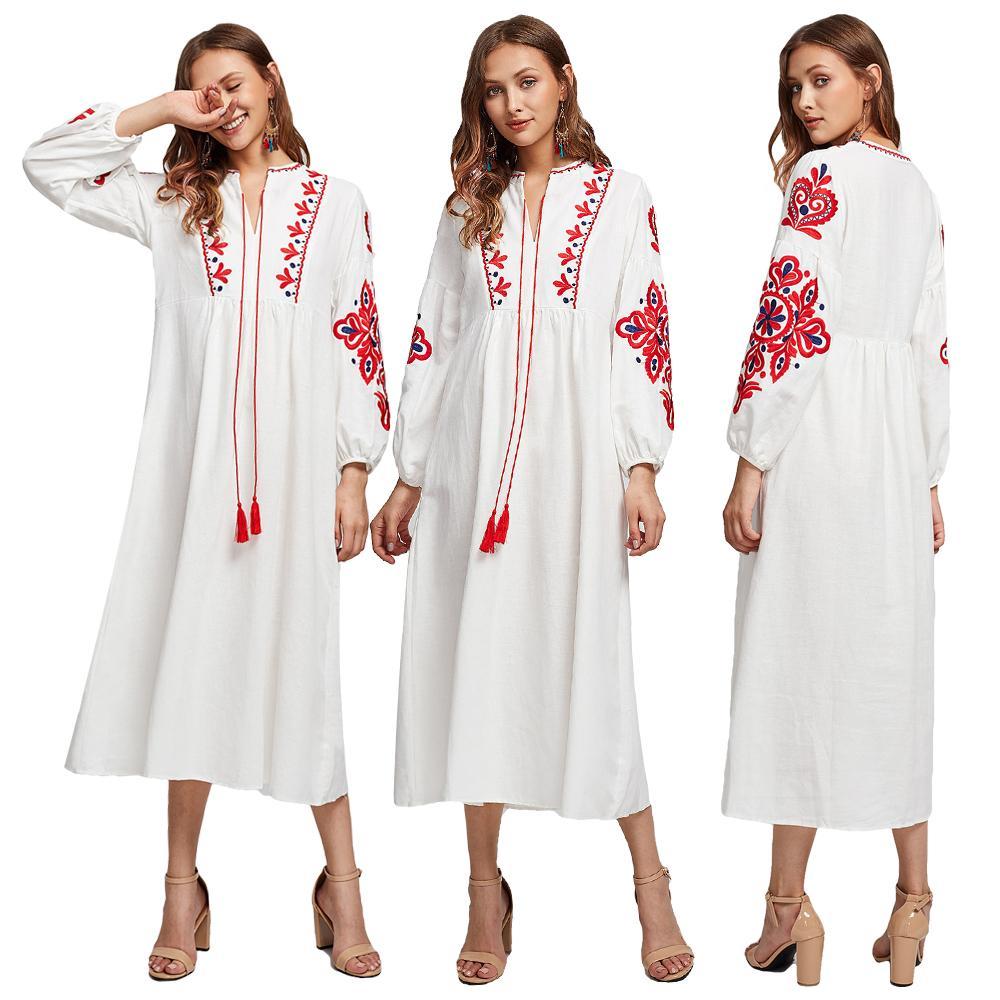 Vestido largo étnico musulmán para mujer, de moda, con mangas largas bordadas, árabe, Abaya, cordón ajustable, vestido de señora de Vyshyvanka ucraniano, nuevo