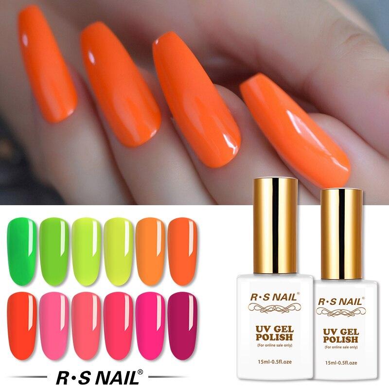 RS vernis à ongles Gel néon vernis à ongles Fluorescent vernis à ongles professionnel manucure Hybrydowe UV Gellak 15ml
