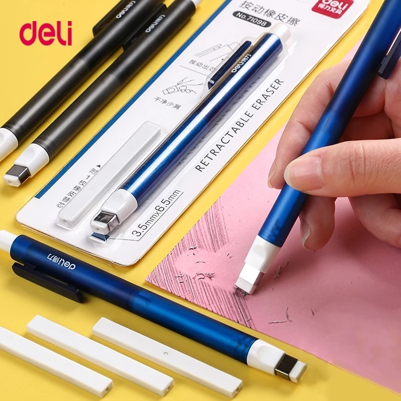 Deli 71098 Correction Supplies Pencil Rubber Retractable Press Eraser School Stationery Erasers for
