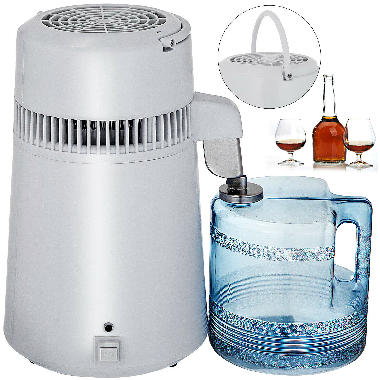 VEVOR 4L Pure Water Bottle Filter Distiller Purifier Softener Treatment Stainless Steel for Medical Home Labs Hospitals Offices
