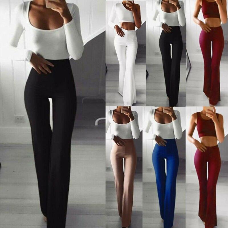2021 Женские однотонные широкие брюки-клеш с высокой талией, тонкие и удобные женские брюки-клеш, брюки для йоги