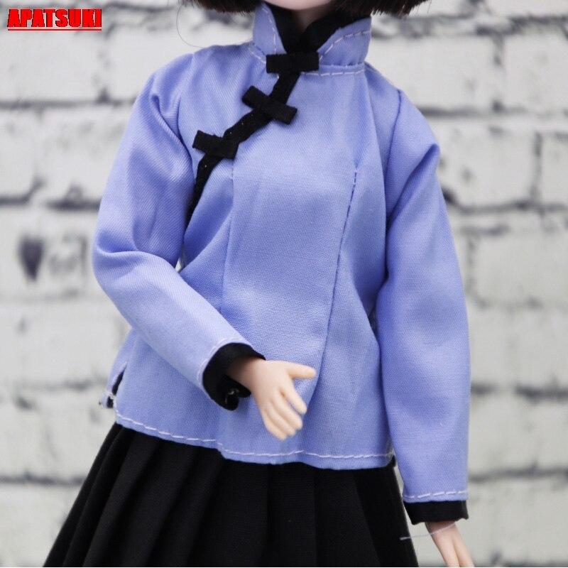 Chinês do vintage roupas para barbie boneca roupas traje antigo para 1/6 bjd boneca cor azul topo casual roupas diárias para barbie
