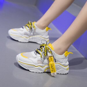 2020 New Fashion Casual Shoes Female Korean Wild Sneakers Mesh Women's Shoes Breathable Lace-up White Print Sewing