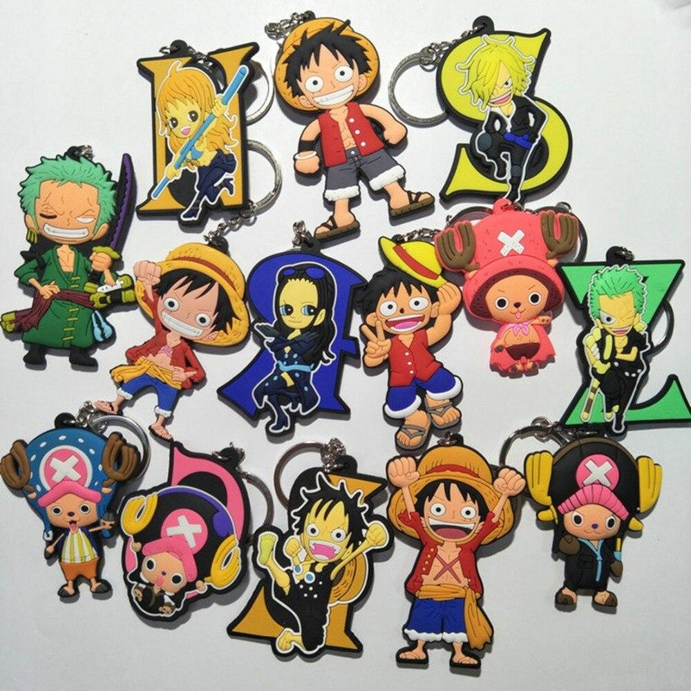 Cartoon One Piece Luffy PVC keychain Tony Choppe Roronoa Zoro Sanj fashion pendant Keyring Jewelry Accessory Llaveros Chaveiros