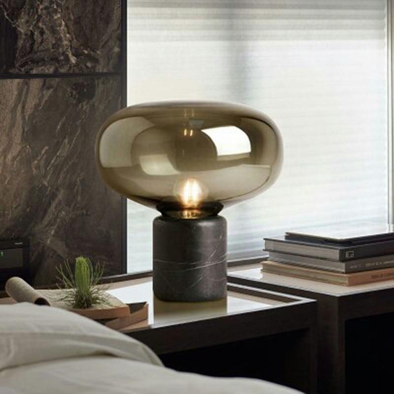 Postmodern LED Table Lamps for Bedroom Marble Glass Living Room Study Desk Lamp Simple Bedside Home Deco Table Light Modern Art