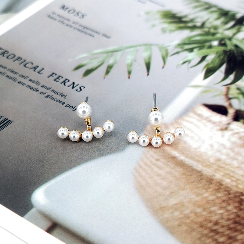 8SEASONS 2019  Fashion Korea Temperament Ear Jacket Stud Earrings Gold Color White Imitation Pearl 19mm x 13mm For Women, 1 Pair