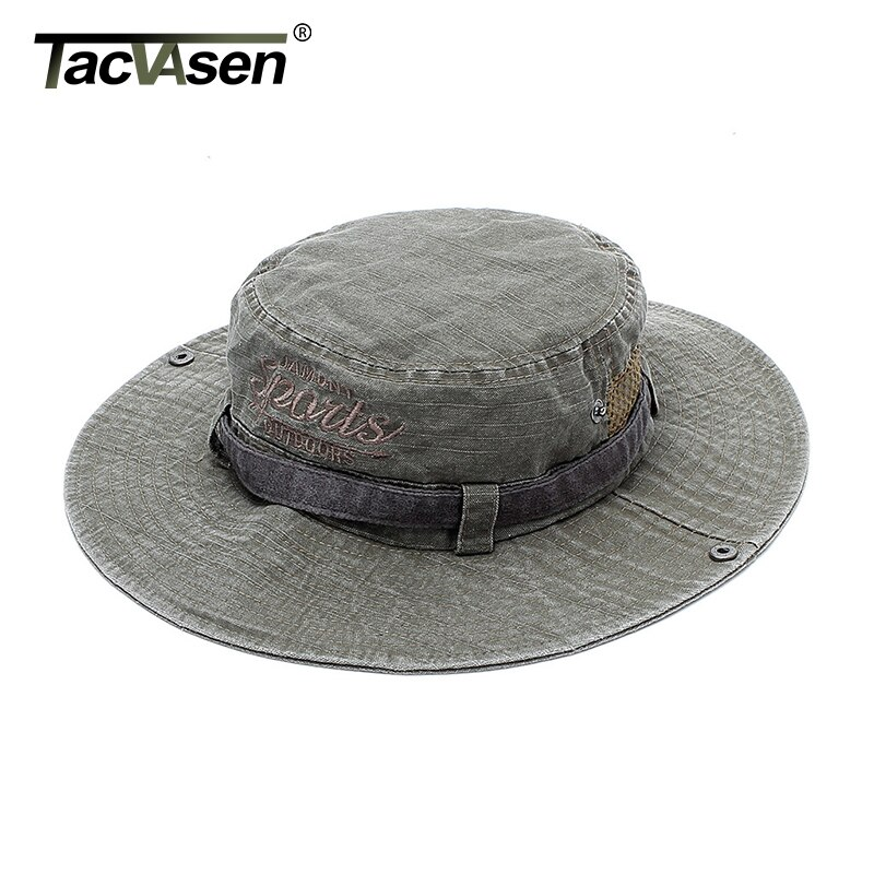 TACVASEN, sombrero Boonie de verano para hombres, sombrero de cubo de ala ancha, sombreros de sol, bordado de algodón, gorra táctica militar plegable, gorra de pescador de senderismo