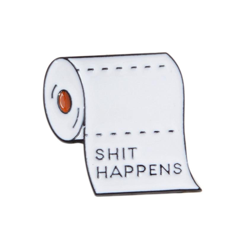 Cute Bathroom Roll Paper Corsage Enamel Brooch Pin Badge Shirt Lapel Collar Pin