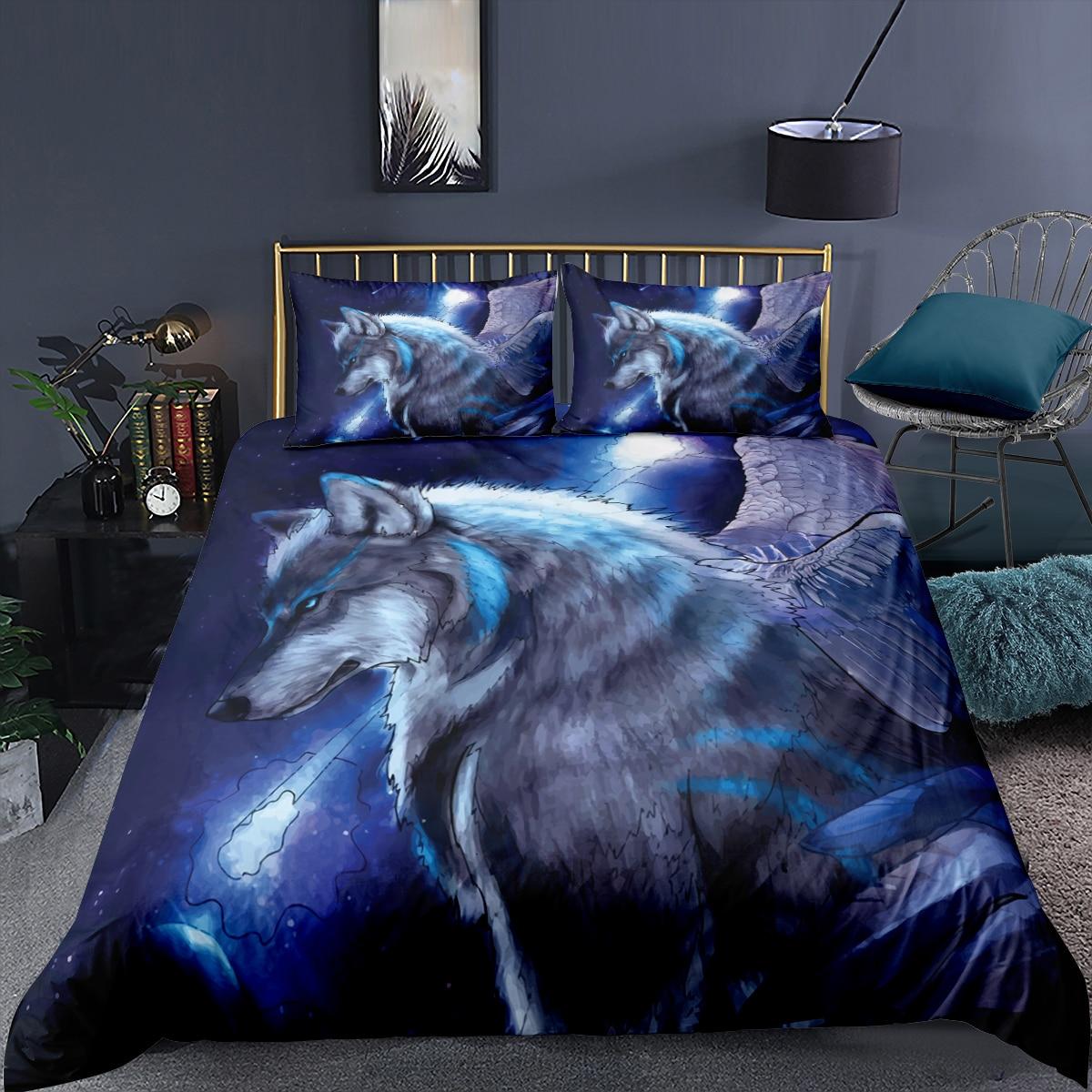 الذئب/الأسد/الدب سرير ملكي ثلاثية الأبعاد الحيوان حاف الغطاء المخدة الملكة الملك طقم سرير للكبار المنسوجات المنزلية