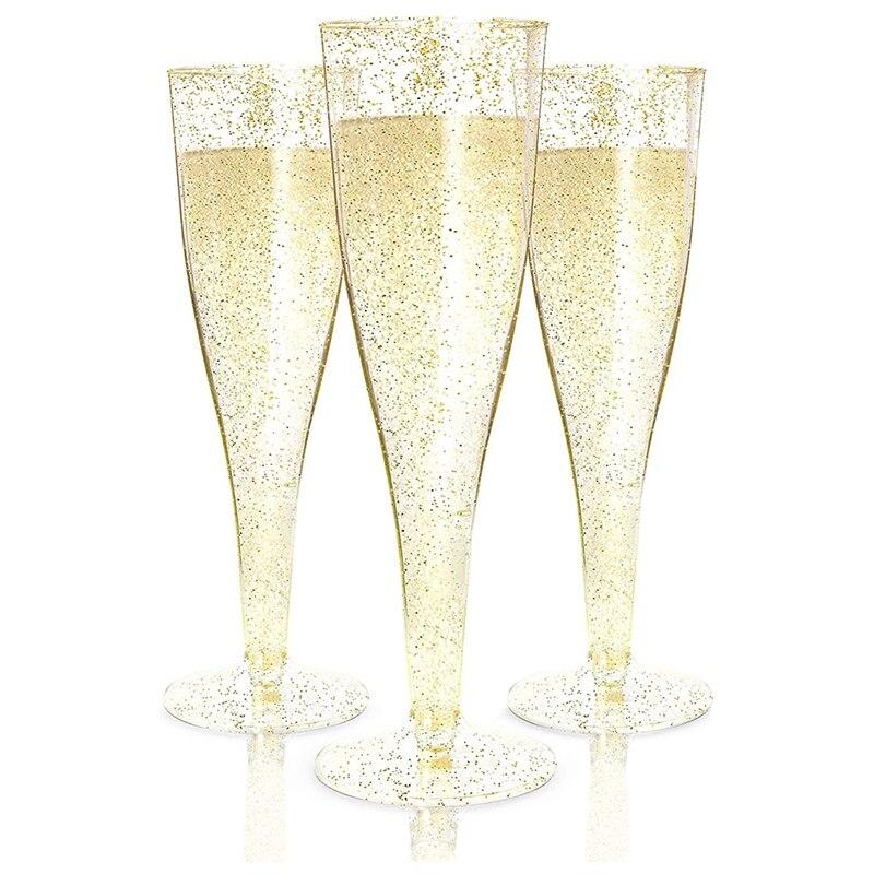 البلاستيك مزامير الشمبانيا المتاح الذهب بريق البلاستيك كؤوس الشامبانيا للحفلات Mimosa دش حفلة لوازم