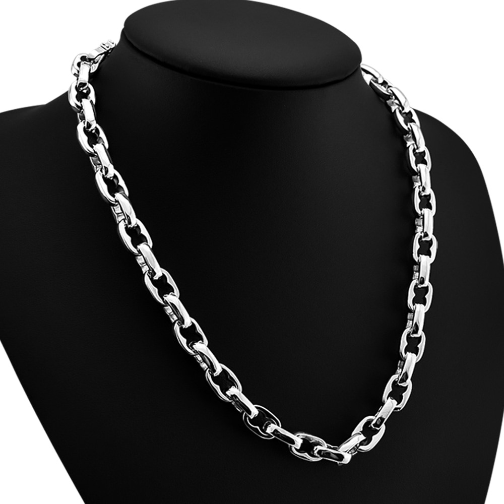 عقد بانك من الفضة الإسترليني عيار 100% ، سلسلة ربط ، مجوهرات هيب هوب للرجال والنساء ، إكسسوارات عصرية ، 925