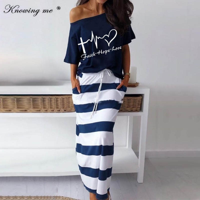 Women Two Piece set dress Hope Boat Anchor Print Top shirts Striped Ankle-length dress Elegant Sexy Off Shoulder sets dresses