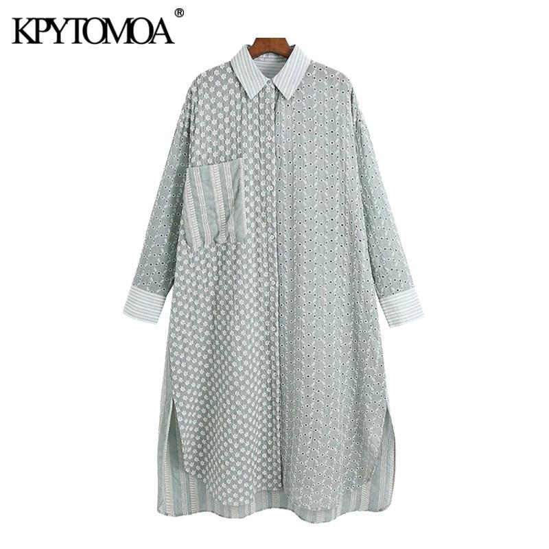 بلوزات عصرية للنساء من KPYTOMOA بفتحات واسعة ومطرزة ومطرزة وأكمام طويلة وفتحات جانبية قمصان نسائية أنيقة