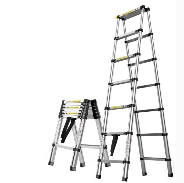 1.4m retractable folding aluminum herringbone ladder, can be used as a single-sided straight ladder, multi-function household/li