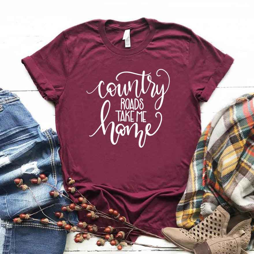 Camiseta para mujer, Camiseta con estampado de letras de The Country Roads Me Home, Camiseta holgada de manga corta con cuello redondo para mujer, camiseta informal para mujer