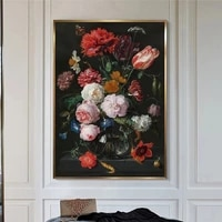 nordic classical flowers in a glass vase canvas paintings on the wall flowers still life pictures for home room wall cuadros